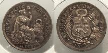 World Coins - PERU: 1913 1/2 Dinero #WC63488