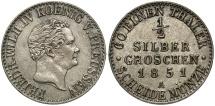 World Coins - GERMAN STATES: Prussia 1851-A 1/2 Groschen