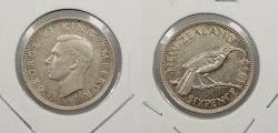 World Coins - NEW ZEALAND: 1945 George VI Sixpence