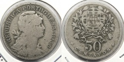 World Coins - PORTUGAL: Azores 1935 Key date - mintage 902,000. For use in Azores. 50 Centavos