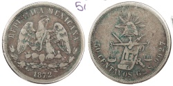 World Coins - MEXICO: Guanajuato 1872-Go S 50 Centavos