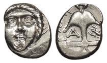 Ancient Coins - Thrace Apollonia Pontika Late 4th Century B.C. Diobol Near EF