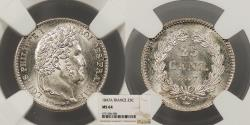 World Coins - FRANCE Louis Philippe 1847-A 25 Centimes NGC MS-64