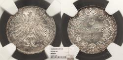 World Coins - GERMAN STATES Frankfurt am Main Free City 1855 3 Kreuzer NGC MS-65+