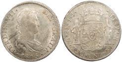 World Coins - MEXICO Ferdinand (Fernando) VII 1815-Mo JJ 8 Reales AU/UNC