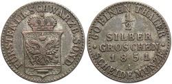World Coins - GERMAN STATES: Schwarzburg-Rudolstadt 1851 1/2 Groschen