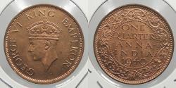 World Coins - INDIA: 1940(b) 1/4 Anna