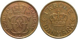 World Coins - DENMARK: 1934 1 Krone