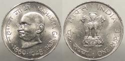 World Coins - INDIA: 1969 (B) Gandhi Commemorative. Rupee