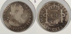 World Coins - PERU: 1808-LIMAE JP Charles IV 2 Reales