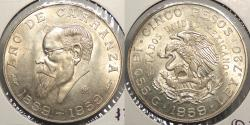 World Coins - MEXICO: 1959-Mo 5 Pesos