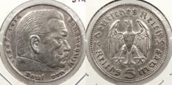 World Coins - GERMANY: 1936-F Hindenburg 5 Mark