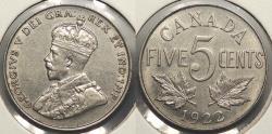 World Coins - CANADA: 1922 Far rim variety. 5 Cents