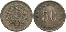 World Coins - GERMANY: 1876-J 50 Pfennig