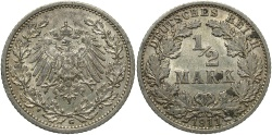 World Coins - GERMANY: 1911-G 1/2 Mark