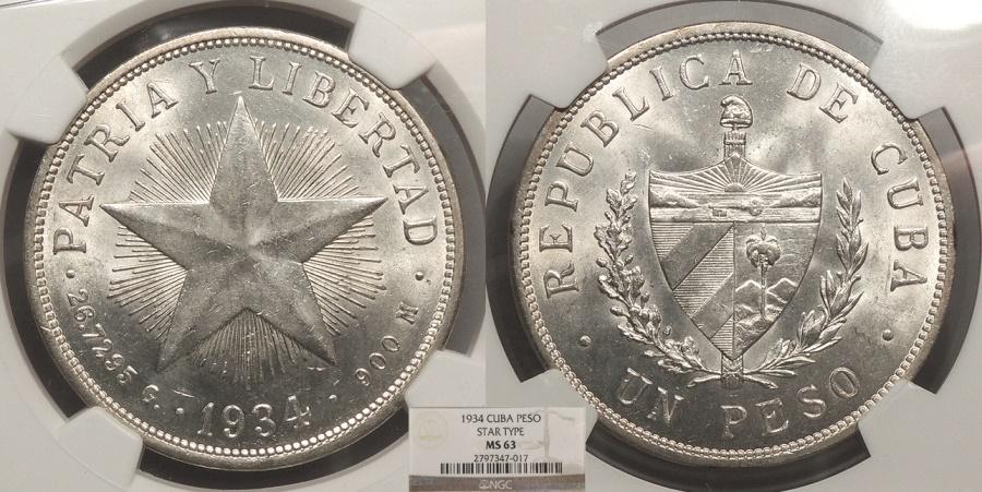 World Coins - CUBA 1934 Peso NGC MS-63