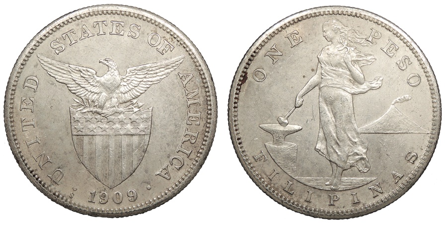 World Coins - PHILIPPINES 1909-S Peso UNC
