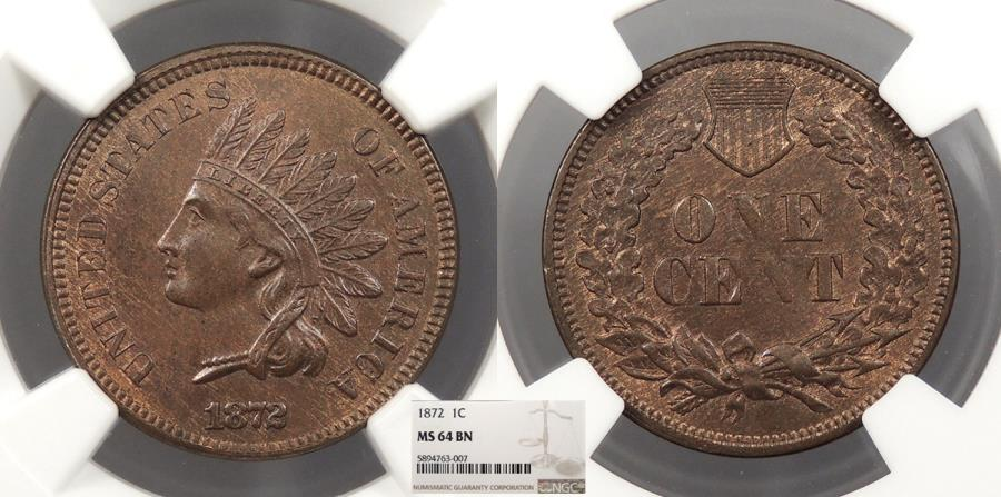 US Coins - 1872 Indian Head 1 Cent NGC MS-64 BN