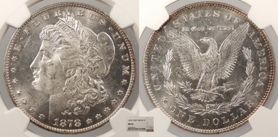 US Coins - 1878 Morgan 1 Dollar (Silver) 7/8 TF Weak NGC MS-63
