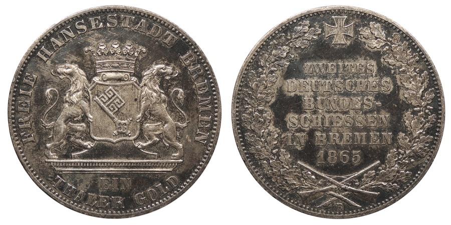 World Coins - GERMAN STATES Bremen Free City 1865-B Thaler (Taler) AU