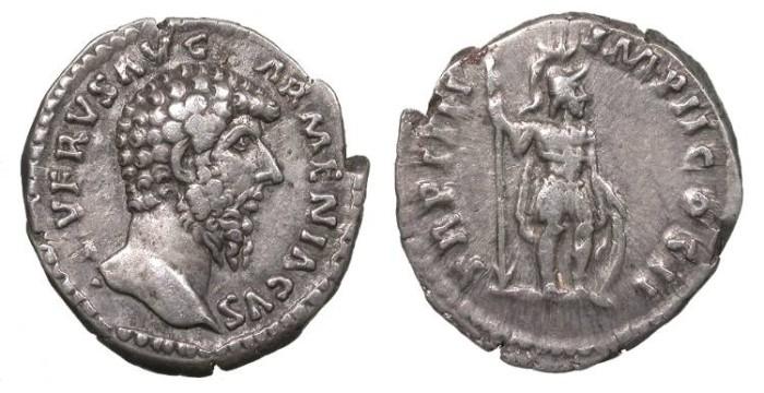 Ancient Coins - Lucius Verus 161-169 A.D. Denarius Rome Mint Good VF