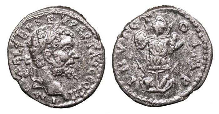 Ancient Coins - Septimius Severus 193-211 A.D. Denarius Emesa Mint EF