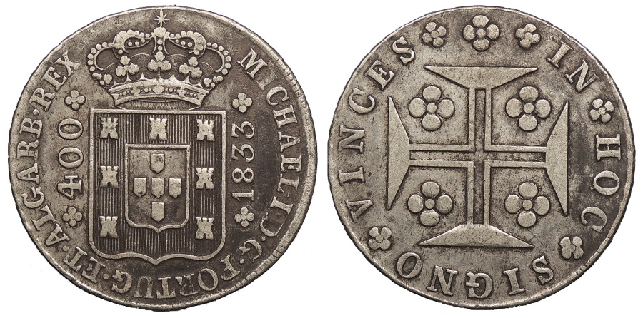 World Coins - PORTUGAL D. Miguel 'o Absoluto' 1833 400 Reis = 'Cruzado Novo' (480 Reis) Good VF