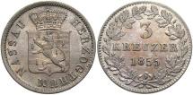 World Coins - GERMAN STATES: Nassau 1855 3 Kreuzer
