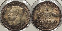 World Coins - AUSTRALIA: 1942-D Sixpence