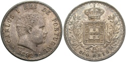 World Coins - PORTUGAL: 1892 500 Reis