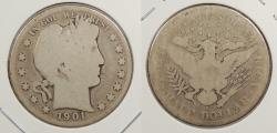 Us Coins - 1901 S Barber 50 Cents (Half Dollar)