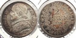 World Coins - ITALIAN STATES: Papal States 1867-R Pius IX (XXII) 2 Lire