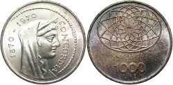 World Coins - ITALY: 1970 1000 Lire
