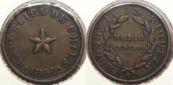 World Coins - CHILE: 1851 1/2 Centavo