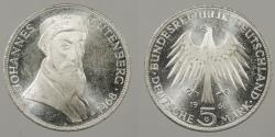 World Coins - GERMANY: West Germany 1968-G Gutenberg. 5 Mark