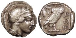 Ancient Coins - Attica Athens After 449 B.C. Tetradrachm Near EF