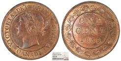 World Coins - CANADA Victoria 1859 Narrow 9 Cent NGC MS-63 RB