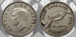 World Coins - NEW ZEALAND: 1942 George V Sixpence