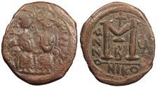 Ancient Coins - Justin II 565-578 AD Follis Nicomedia Mint Good Fine