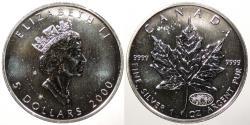 World Coins - CANADA: 2000 1 Oz. Maple Leaf .999 5 Dollars