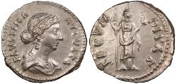 Ancient Coins - Faustina II, wife of Marcus Aurelius 161-175 A.D. Denarius Rome Mint EF Includes ticket citing ex. Grand Haven Collection.