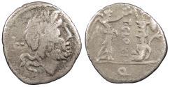 Ancient Coins - T. Cloelius 98 B.C. Quinarius Rome Mint Near VF