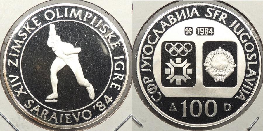 World Coins - YUGOSLAVIA: 1984 1984 Olympics Speed Skating proof 100 Dinara