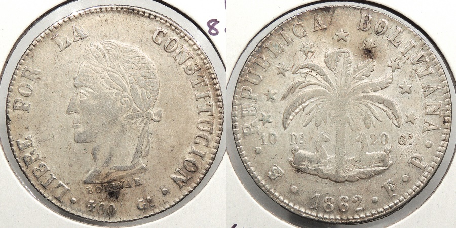 World Coins - BOLIVIA: 1862-PTS FP 8 Soles