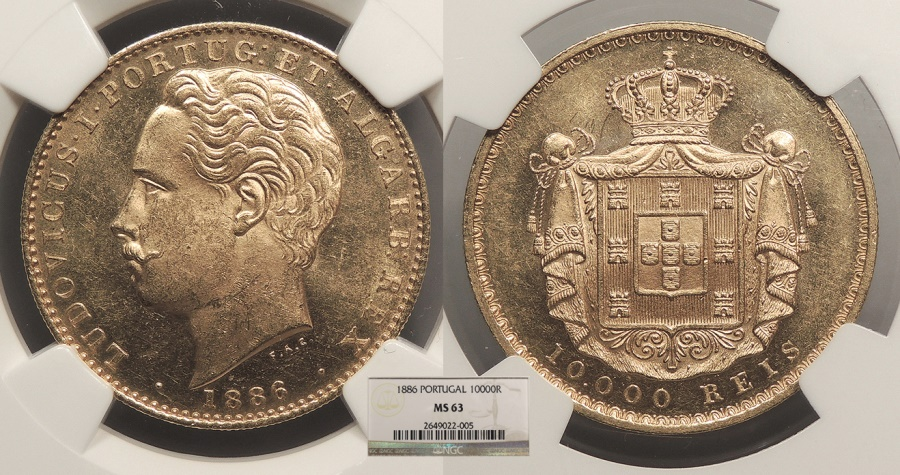 World Coins - PORTUGAL Luiz I 1886 10000 Reis NGC MS-63