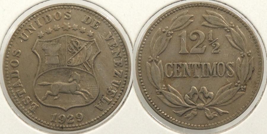 World Coins - VENEZUELA: 1929 12 1/2 Centimos #WC63414