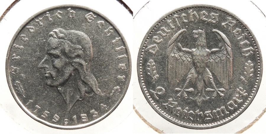 World Coins - GERMANY: Third Reich 1934-F Schiller commemorative 2 Mark