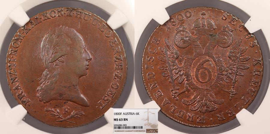 World Coins - AUSTRIA Franz II 1800-F 6 Kreuzer NGC MS-63 BN