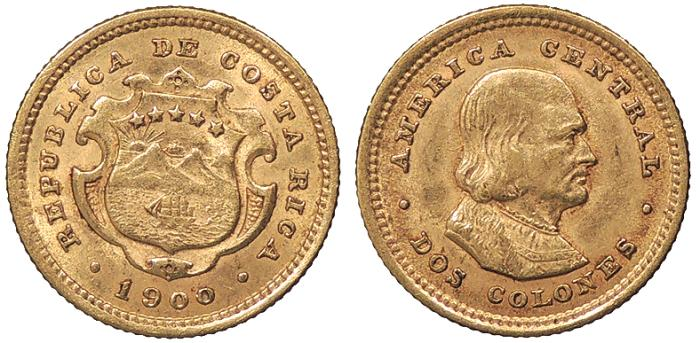World Coins - COSTA RICA 1900 2 Colones AU/UNC