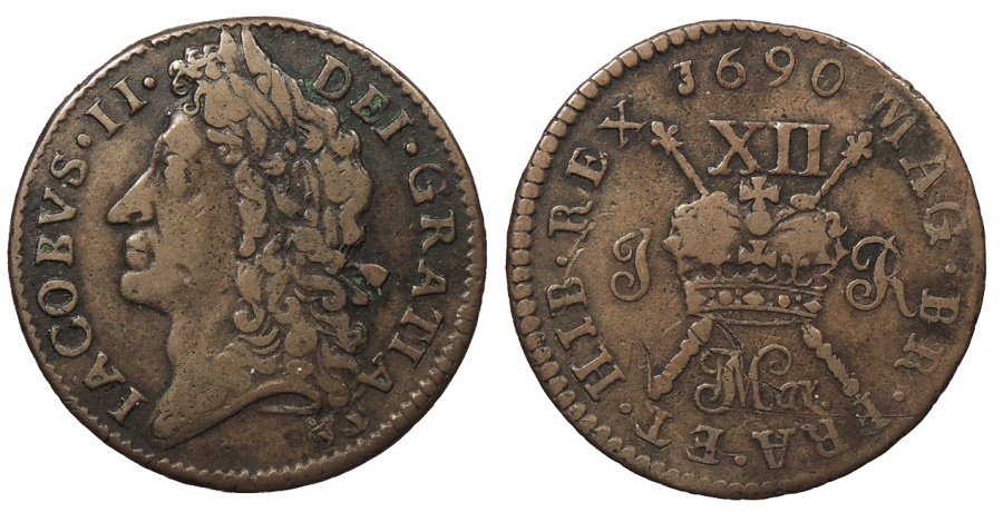 World Coins - IRELAND James II 1690 March Shilling VF